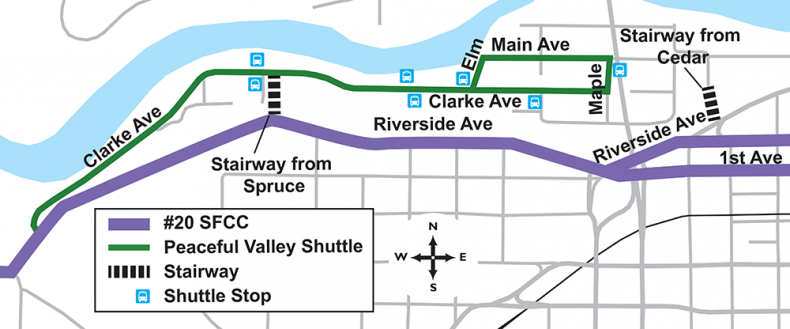 Peaceful Valley Shuttle Map