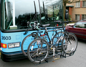 Bikes in a bus rack.